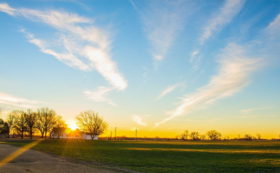 Scenic View Of Field Against Sky During Sunset Photo Taken In United States, Oklahoma City
