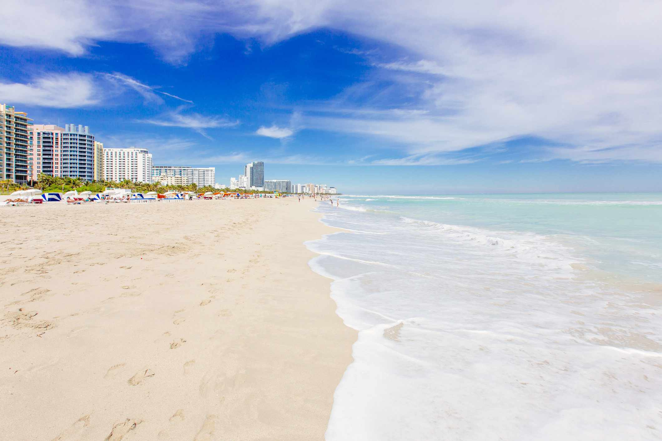 South Beach in Miami with white sand, clear turquoise sea and blue sky,