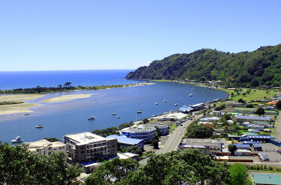 Whakatane Harbour from the lookout above Hillcrest Road