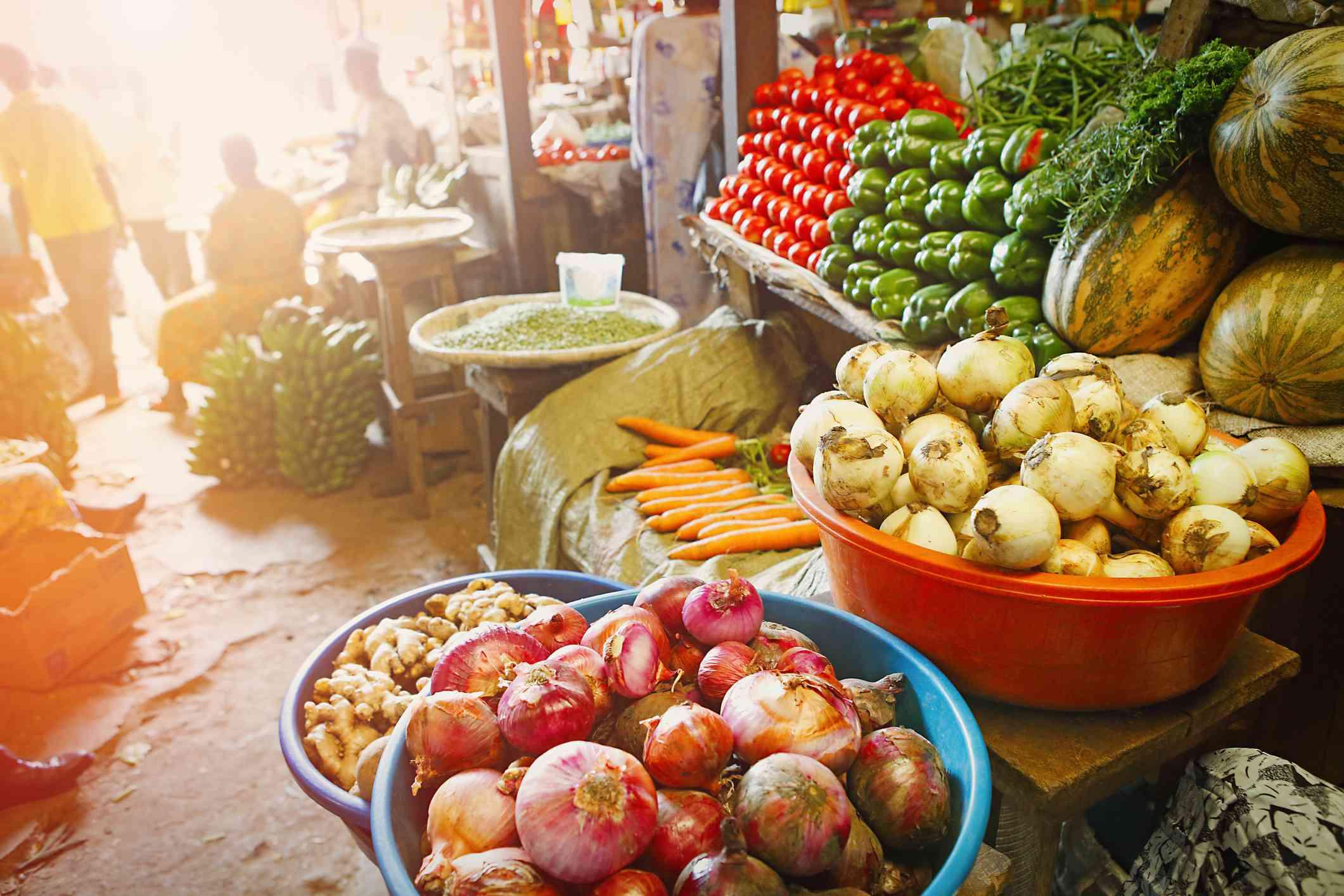 Vegetable stall at Kimironko Market, Kigali