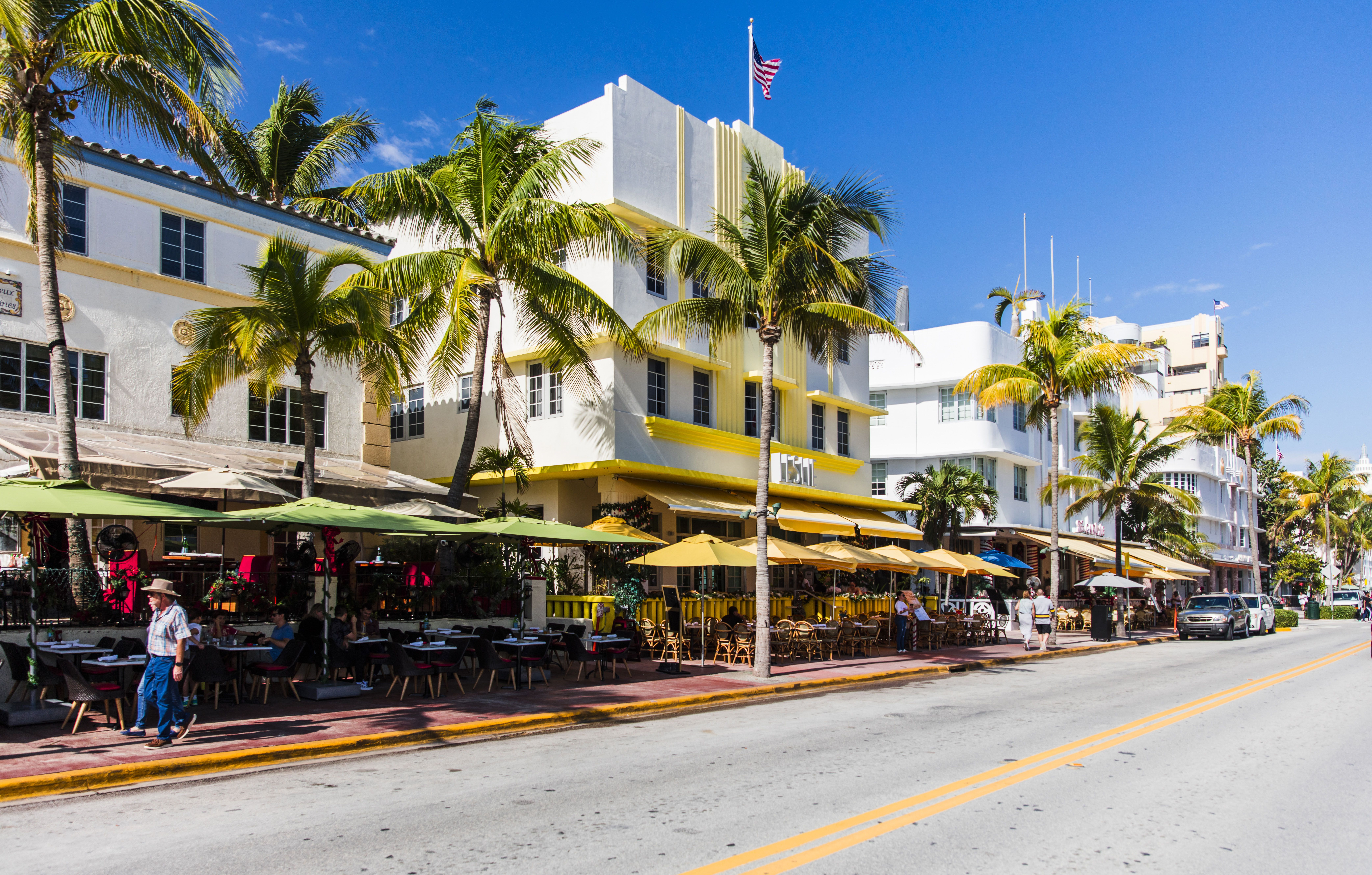 Street with art deco architecture buildings in South Beach Miami
