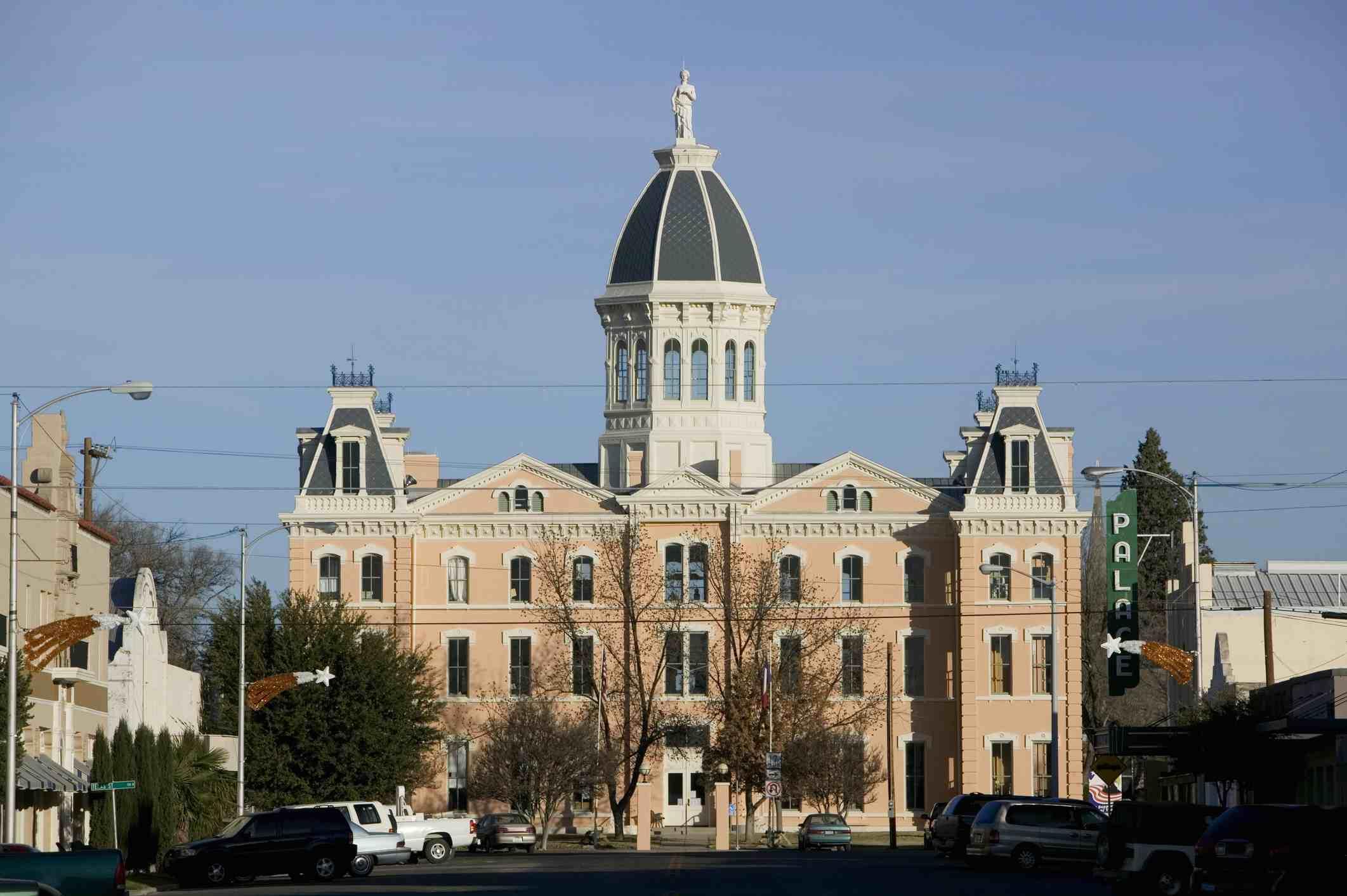 Facade of a courthouse, Presidio County Courthouse, Marfa, Texas, USA