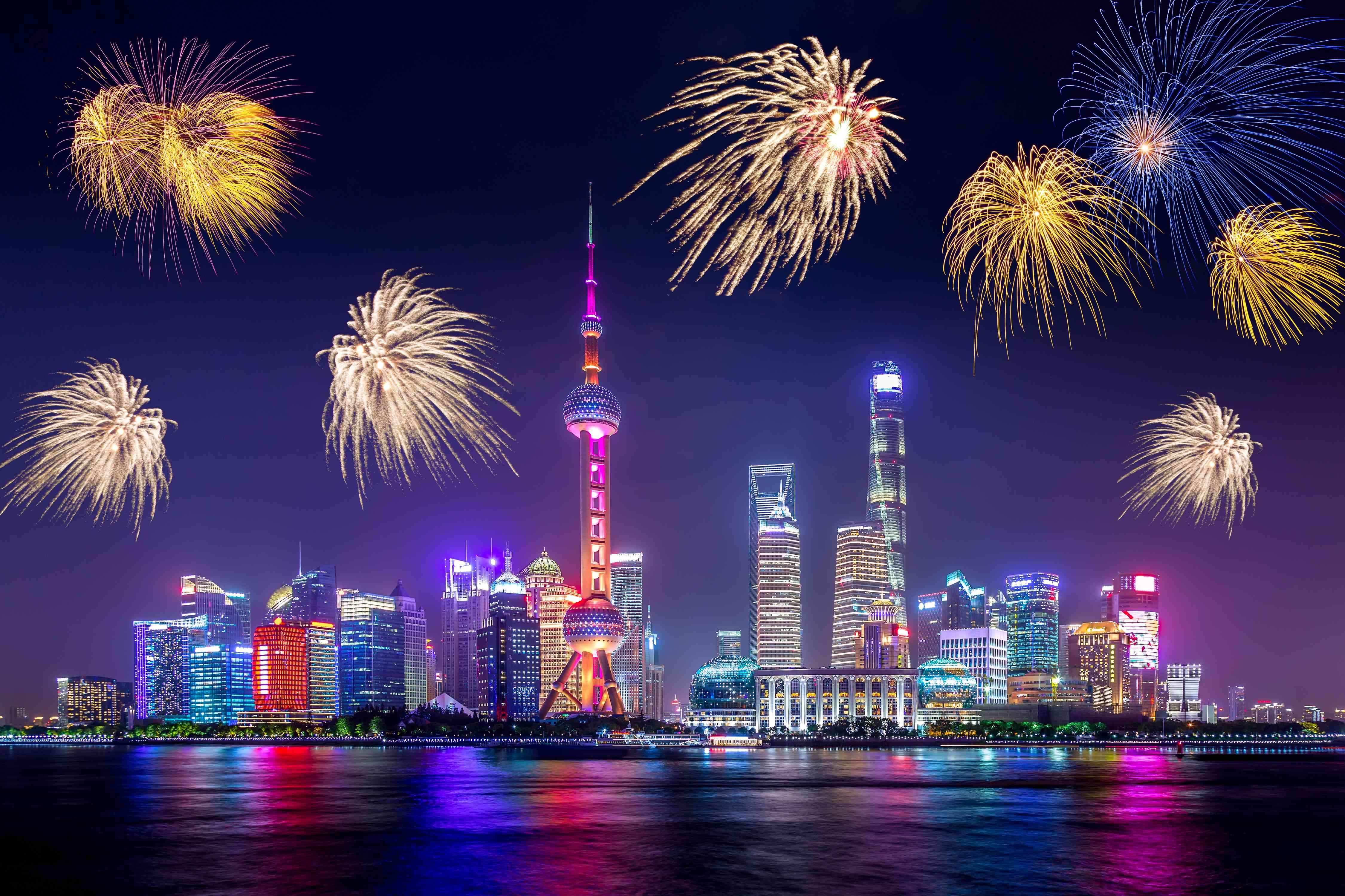 Fireworks over Shanghai for New Year's Eve