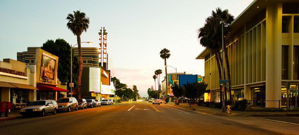 A Culver City street at dusk