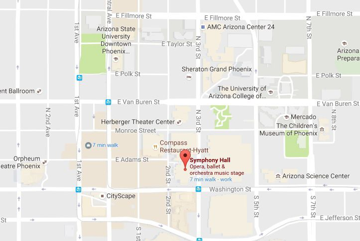 University Arizona Map.Symphony Hall In Phoenix Map Address And Directions