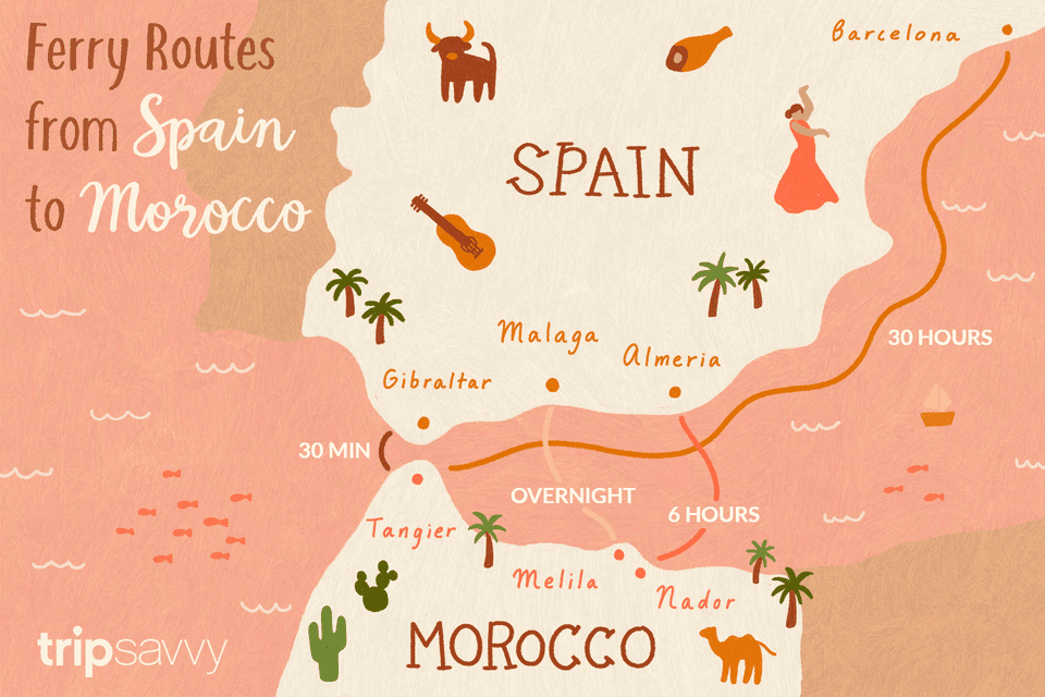 Map Of Spain Gibraltar And Morocco.The Best Ferries To Morocco From Spain