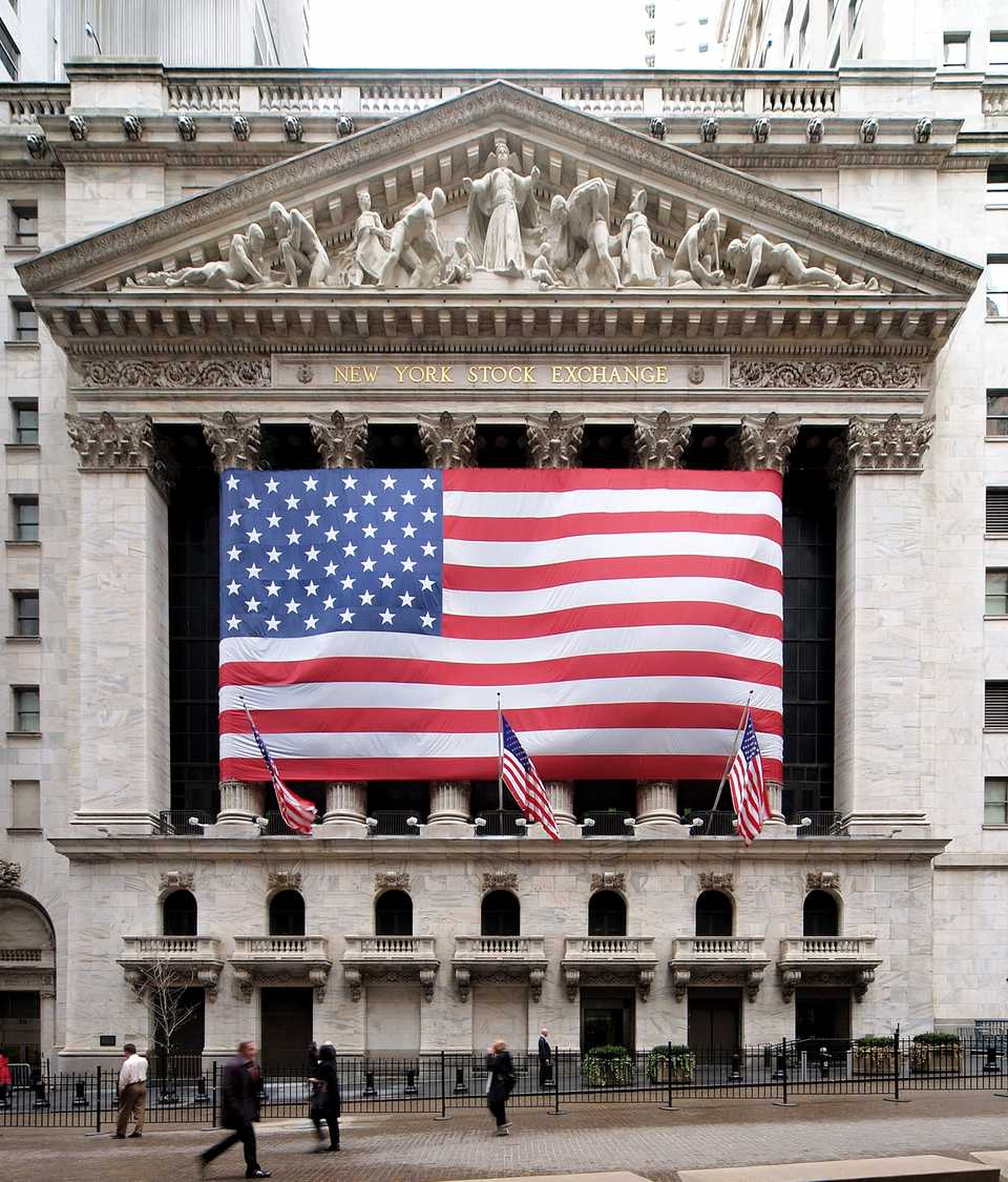 New York Stock Exchange on Wall Street in New York, New York, United States.