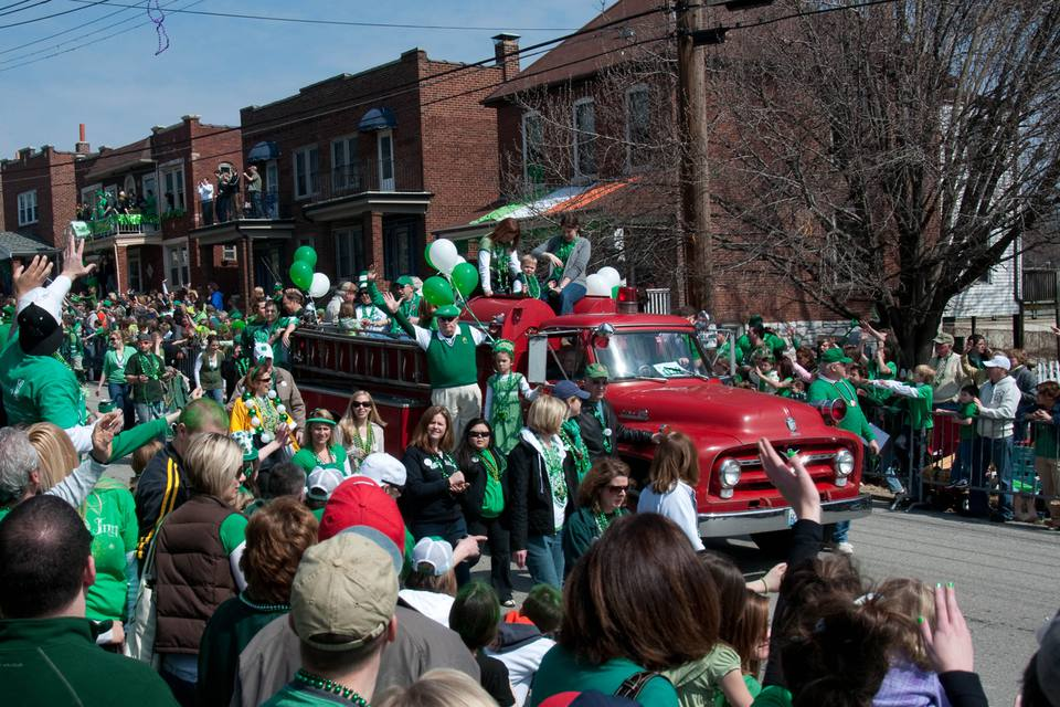 Classic firetruck in the Dogtown St. Patrick's day parade