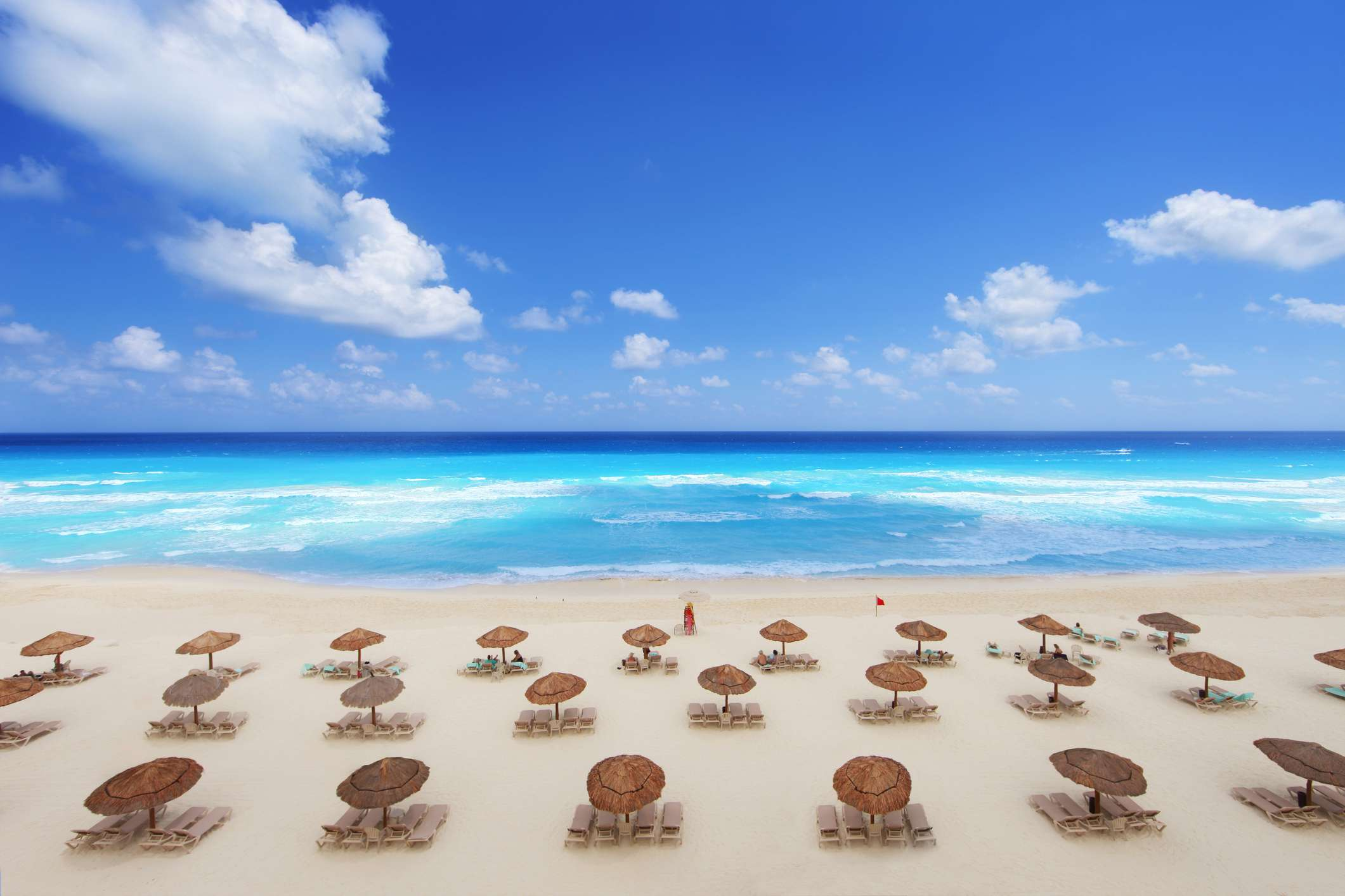 beach resort in Cancun, Mexico on a beautiful spring break day.