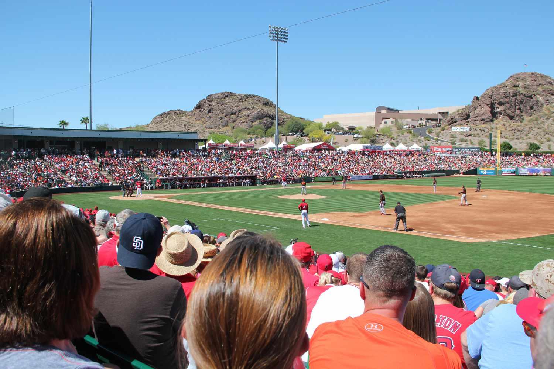 At Tempe Diablo Stadium in Arizona
