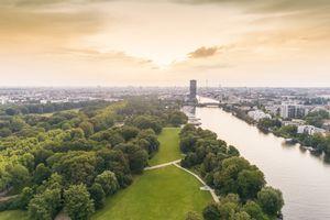 Berlin Treptower Park with city skyline on background, Berlin, Germany