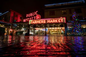 Pike Place Market illuminated with Christmas lights
