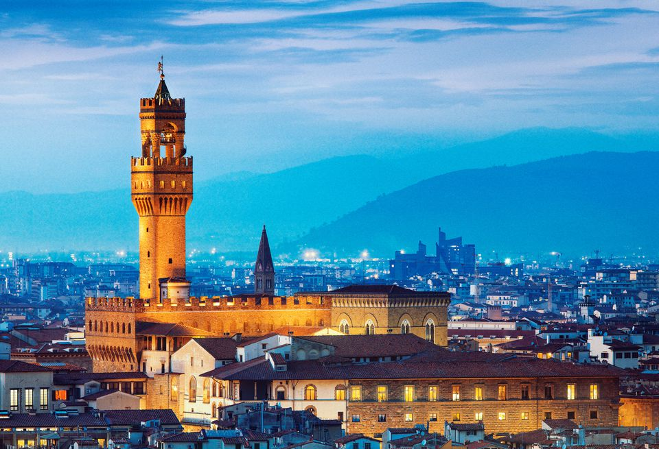 Tower of Palazzo Vecchio in Florence at dusk