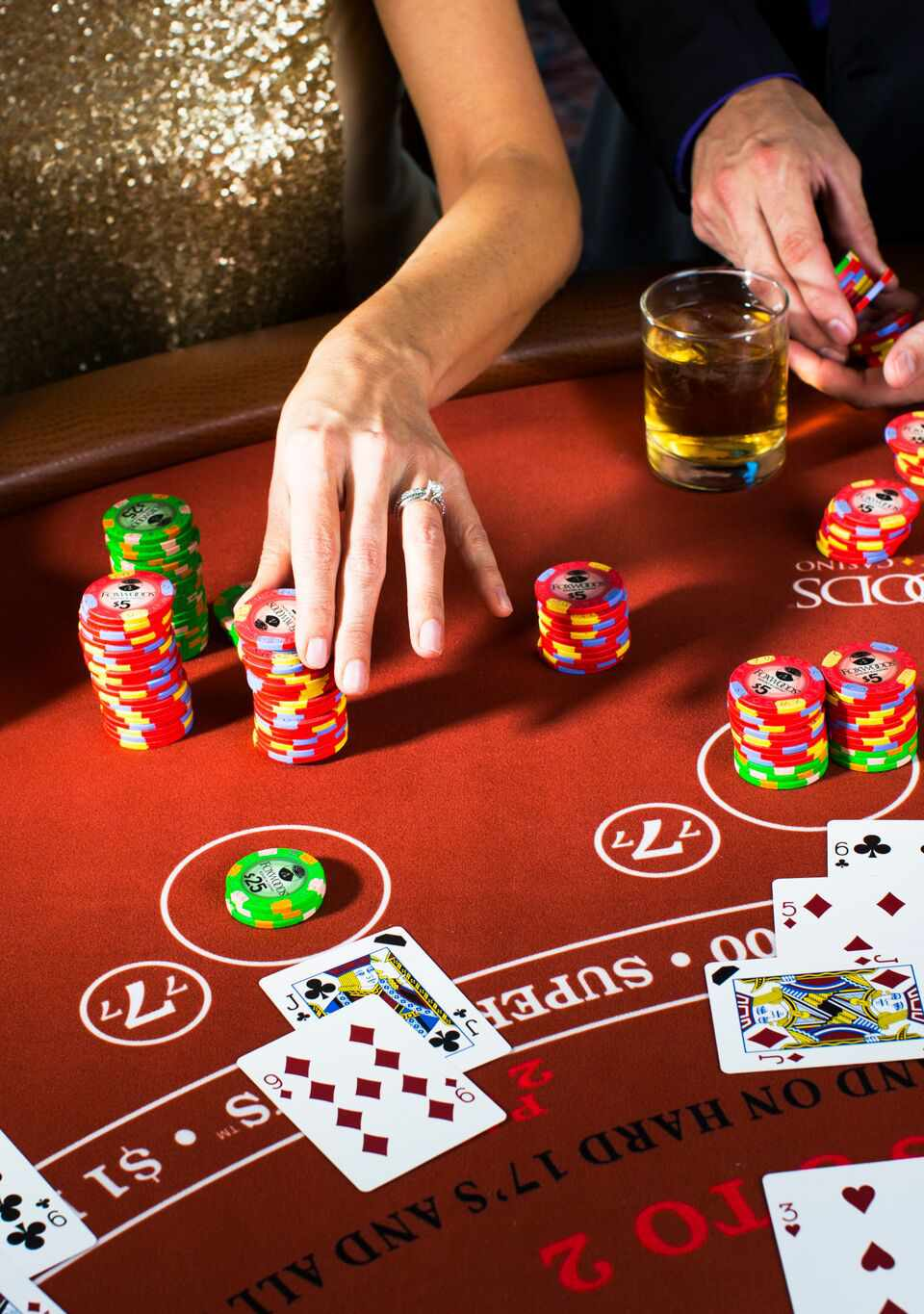 Blackjack being played at Foxwoods casino