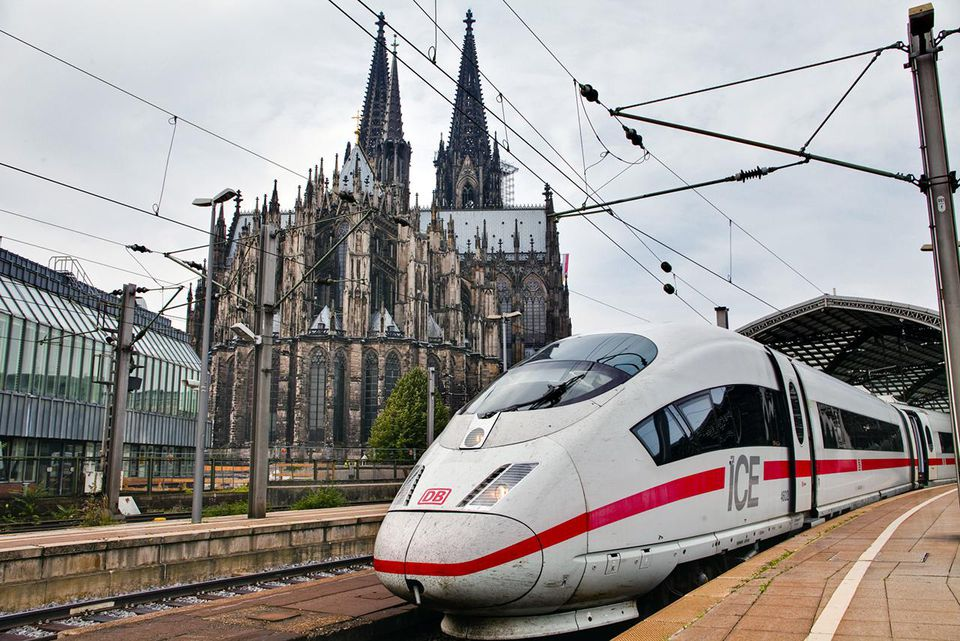 A German ICE high speed train in Cologne station.