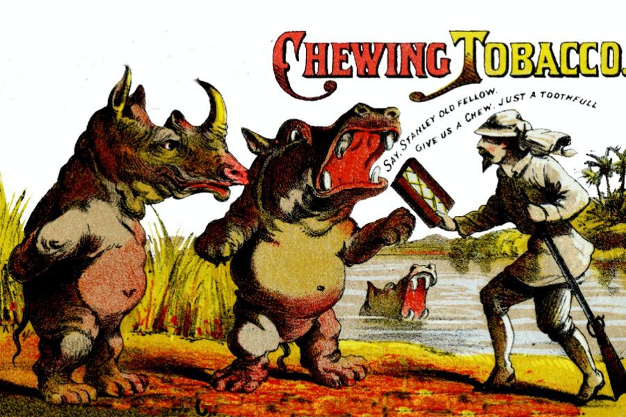 Vintage chewing tobacco ad by Jackson & Co, from 1871 - it was all fun and games until the cancer set in.