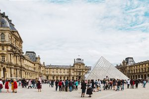 A group of visitors outside of the Louvre