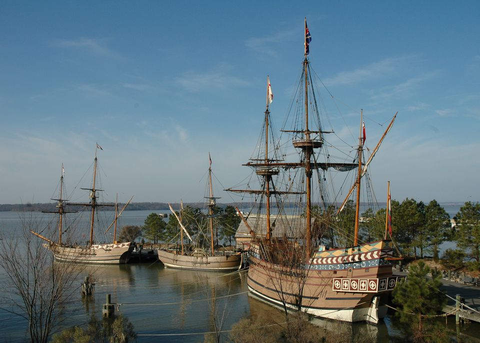 Re-creations of the 1607 English ships Godspeed, Discovery and Susan Constant are moored at Jamestown Settlement