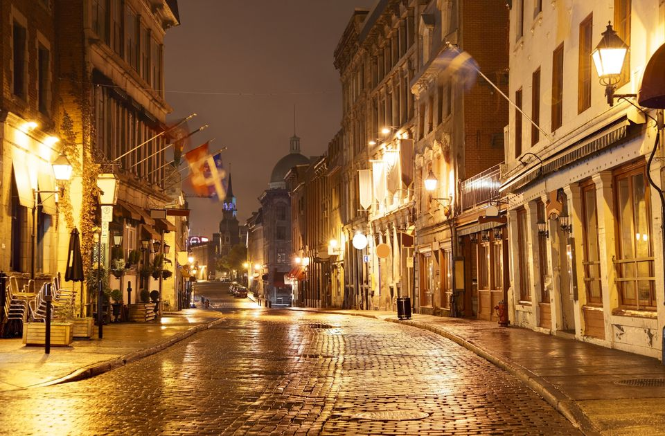 Old Montreal lit up at night