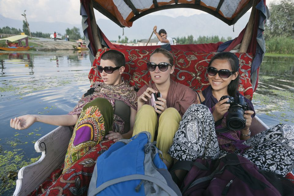 Tourists on a shikara, Dal Lake, Srinagar