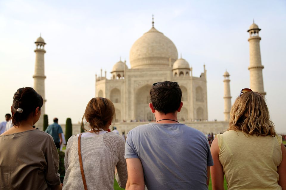Travelers at the Taj Mahal