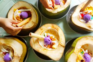 Halo-Halo served in coconut shells