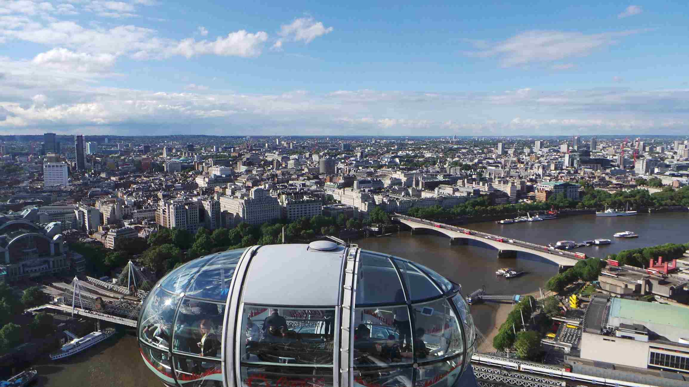 High-angle view of wheel at Coca-Cola London Eye against the London sky.