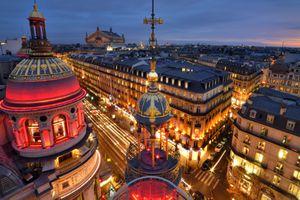 View of Boulevard Haussmann at night, Paris