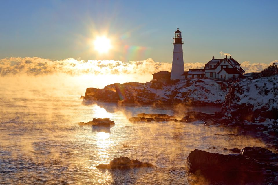 Winter Weather in Maine - Portland Head Light