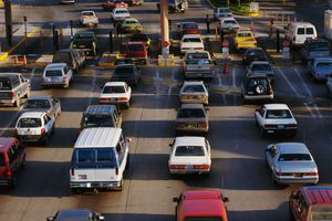 Automobiles at Mexico USA Border Crossing