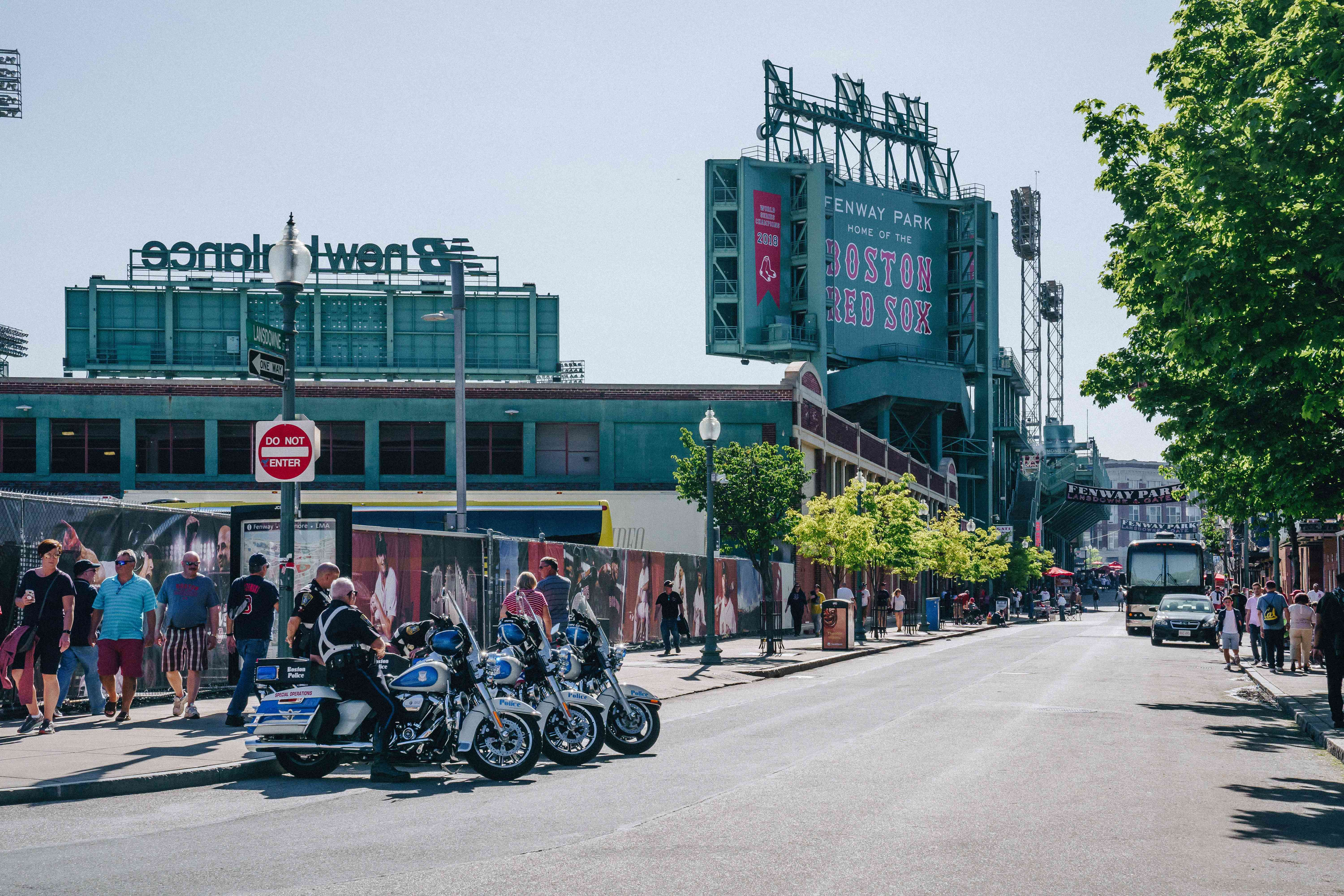 Street leading up to the entrance of Fenway Park