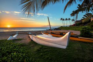South Maui beach at sunset, Maui, Hawaii