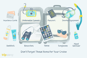Illustration detailing 9 important items to bring on your cruise