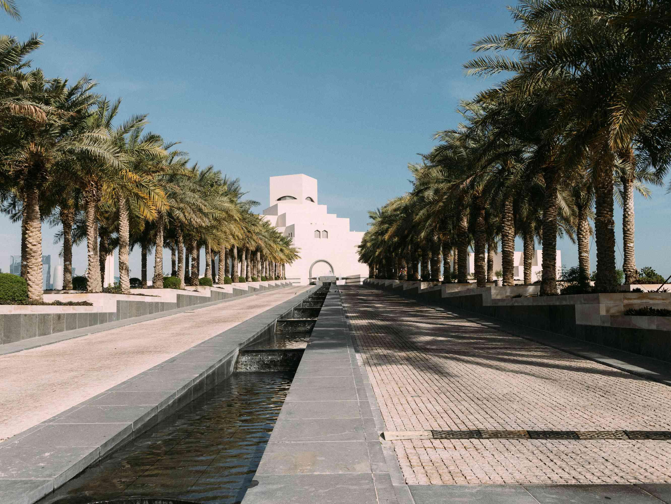 Tree lined park outside Museum of Islamic Art