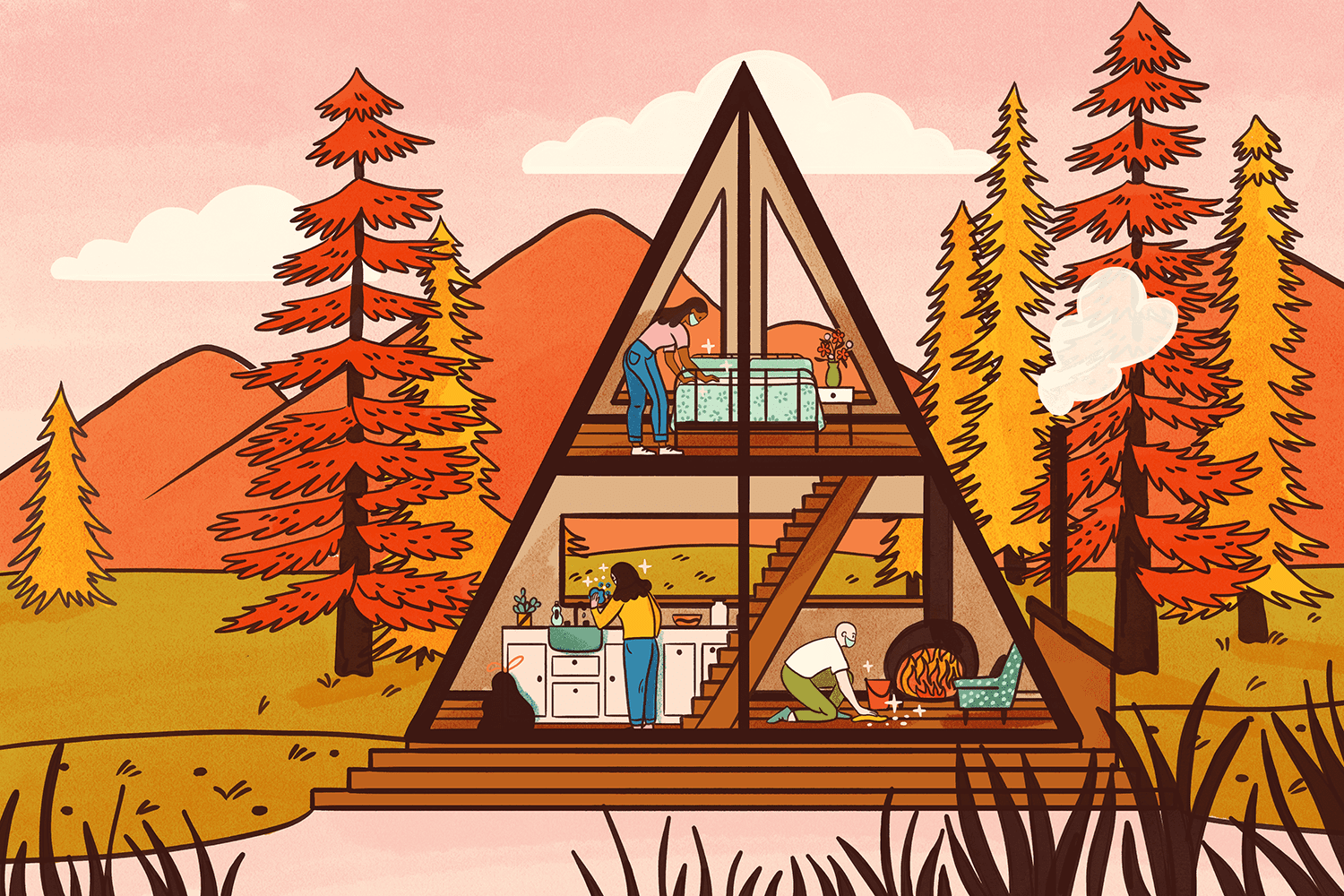 Illustration showing a cleaning crew cleaning an Airbnb Cabin