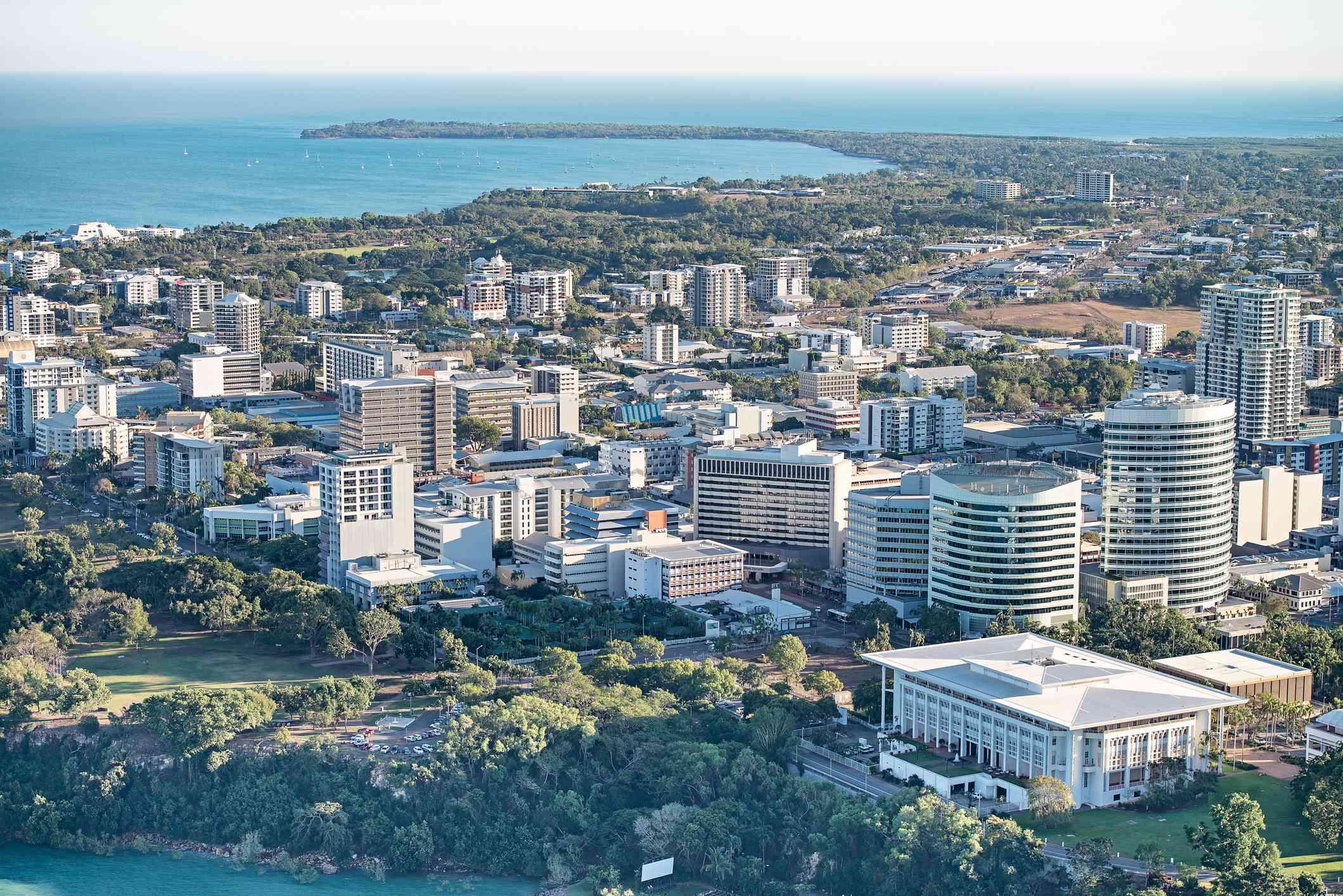 Aerial shot of Darwin and coastline