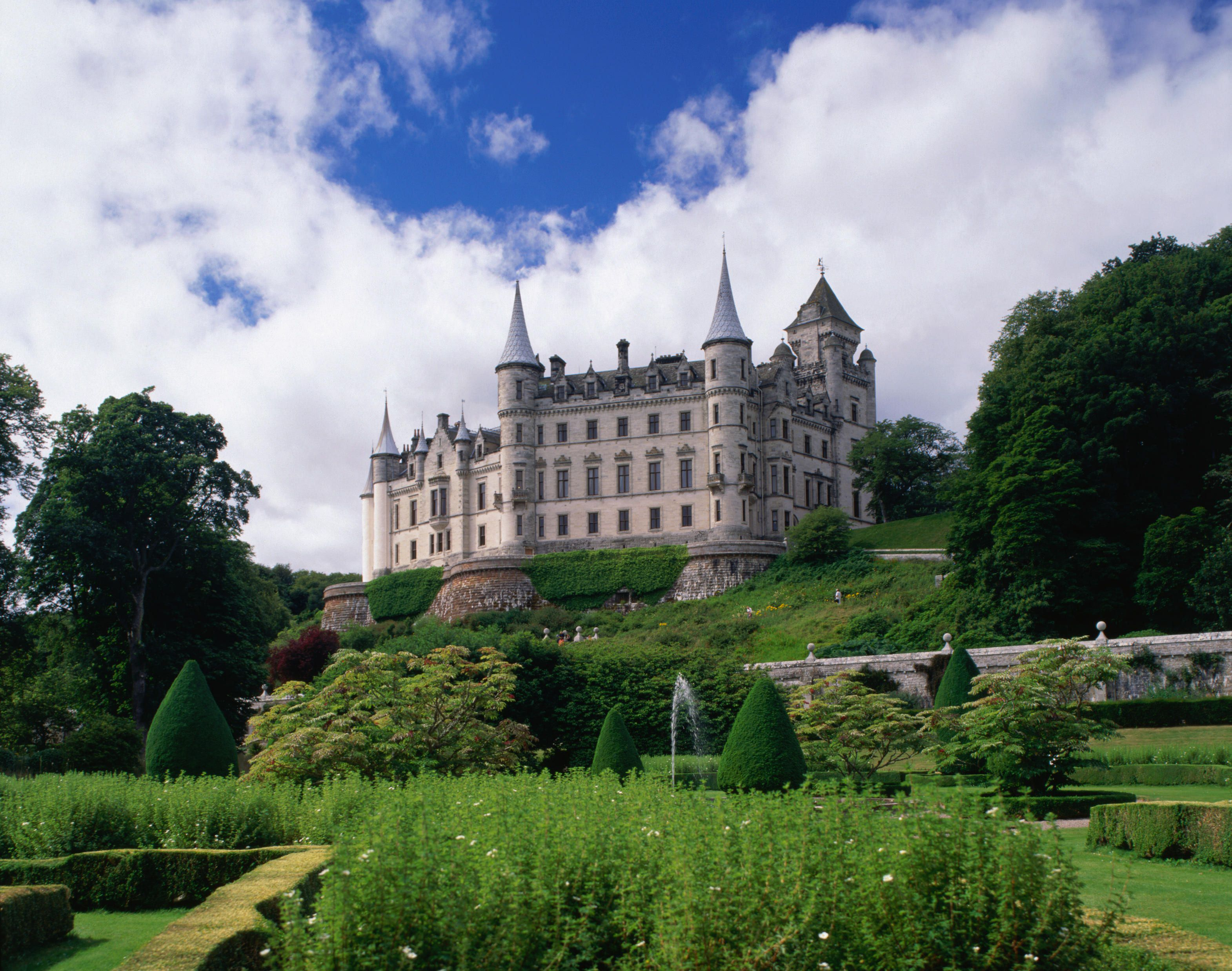 Dunrobin Castle, the largest house in the Highlands, stands overlooking landscaped gardens - Scotland