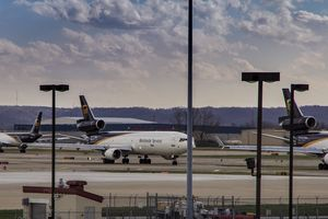 United Parcel Service cargo aircraft prepare to depart Louisville