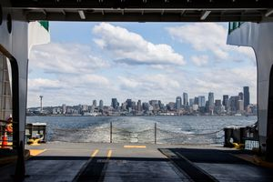 City view from a ferry in Seattle, Washington