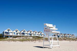 Lifeguard chair on beach, Montauk, East Hampton, New York State, USA