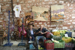 Greek men fruit stand