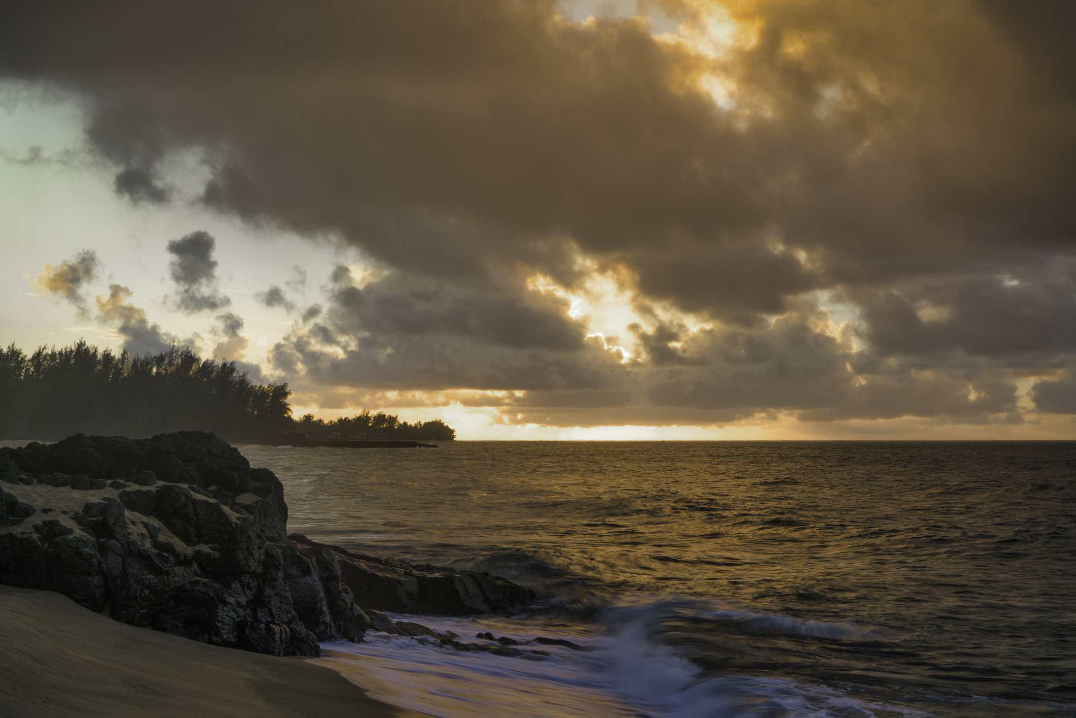 Lumahai Beach at sunset.