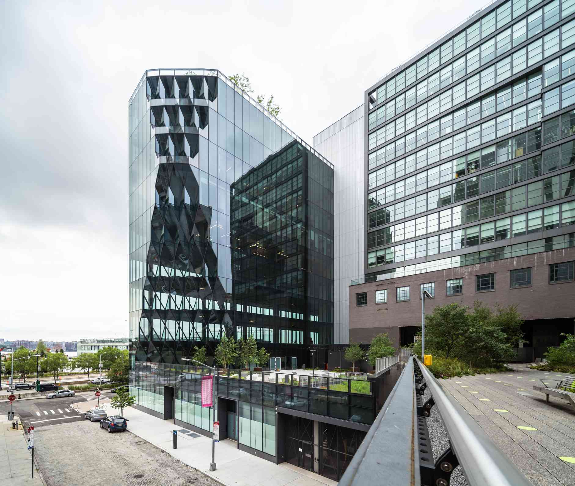 High Line Park View of Glass Clad Office Building - New York