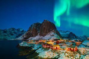 Northern lights over an Icelandic village