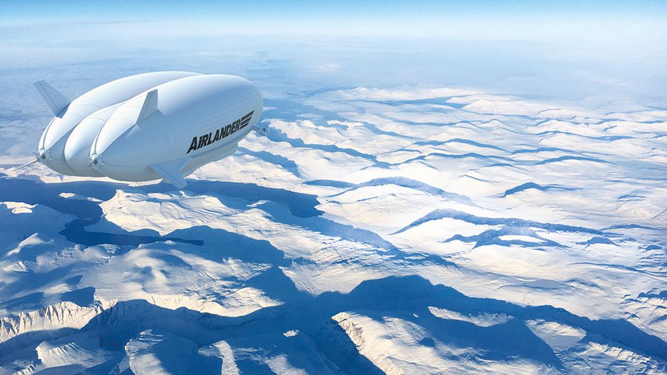 Airlander flying over snow