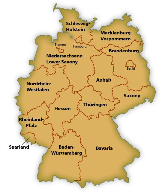 Regions Of Germany Map.Map Of German States