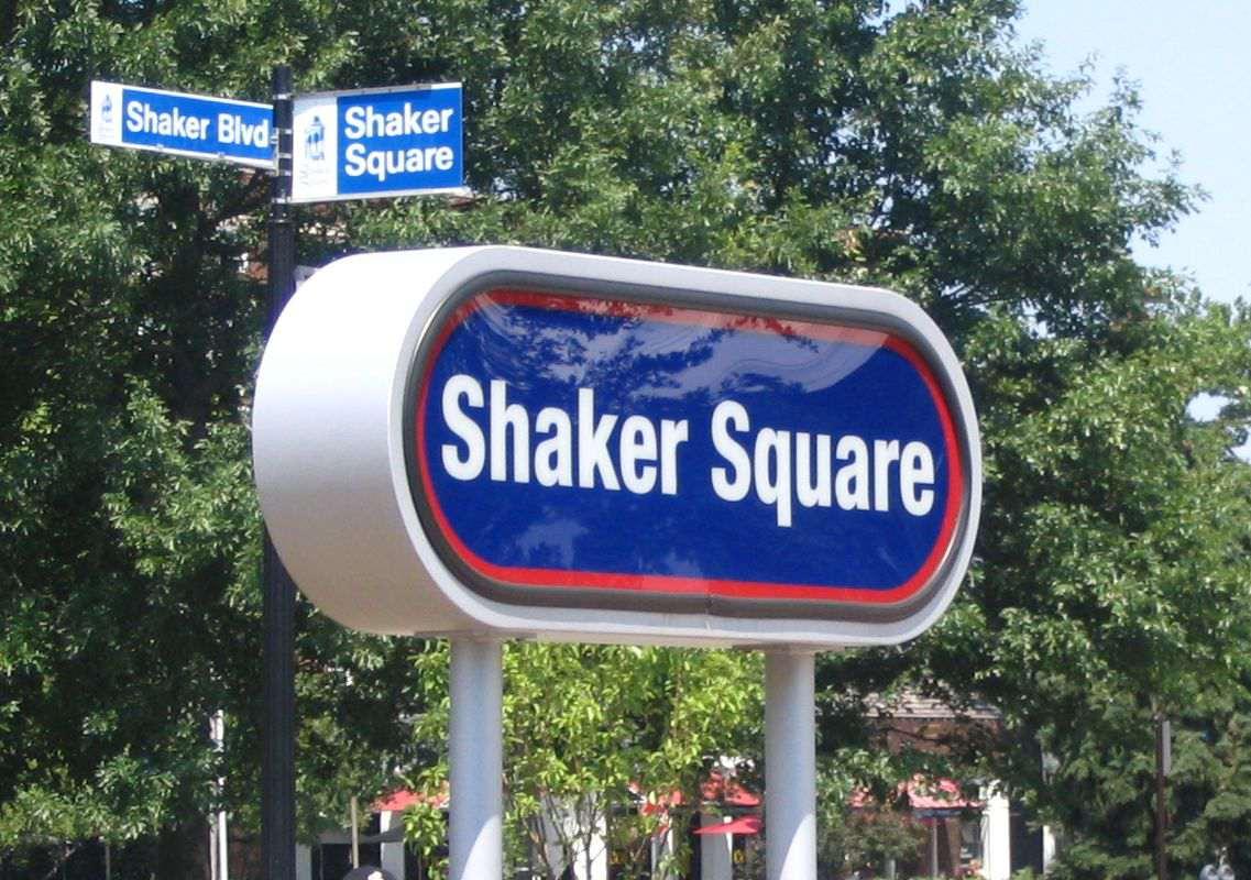 Station sign at Shaker Square station on Cleveland's RTA Rapid Transit