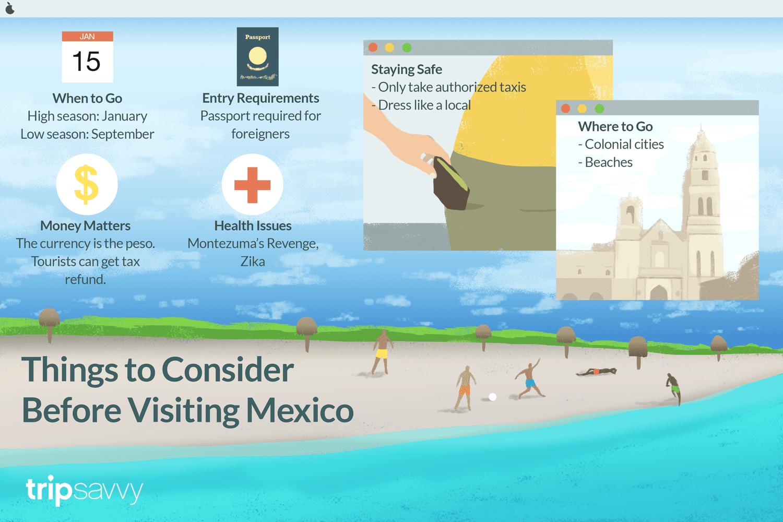 Una ilustración con consejos sobre qué saber antes de ir a México