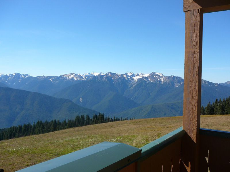 View of Olympic Mountains from Hurricane Ridge Visitor Center