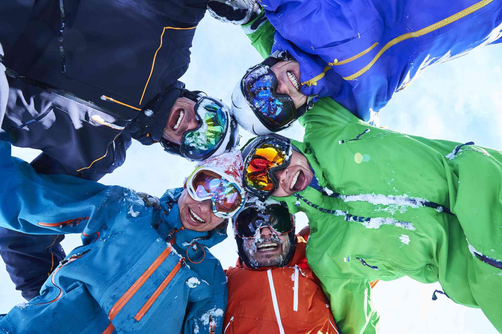 Friends skiing in Colorado